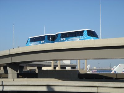 A picture of a people mover in the DFW airport