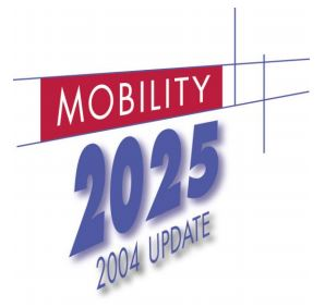 The logo for Mobility 2025 -2004 Update