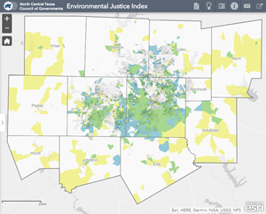 This picture is a link to a map of the environmental justice index that shows where low income/ minority groups are in the Dallas- Fort Worth area