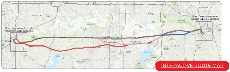 Map of planning area from Fort Worth to Dallas including link to a form to leave comments on High Speed Transportation locations of concern. For more information please contact Rebekah Hernandez at 682-433-0477.