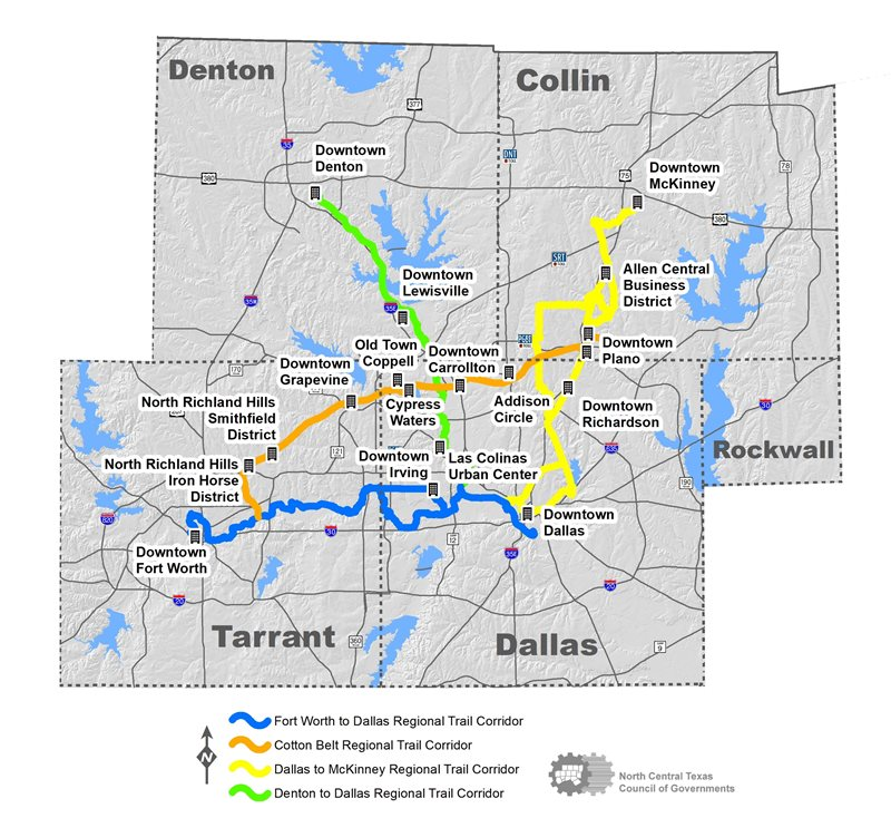 This map shows the trail corridors over the Dallas-Fort Worth area