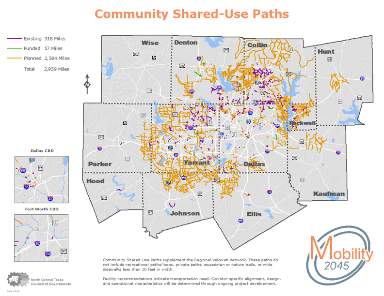 This map shows the Community Shared-Use Paths