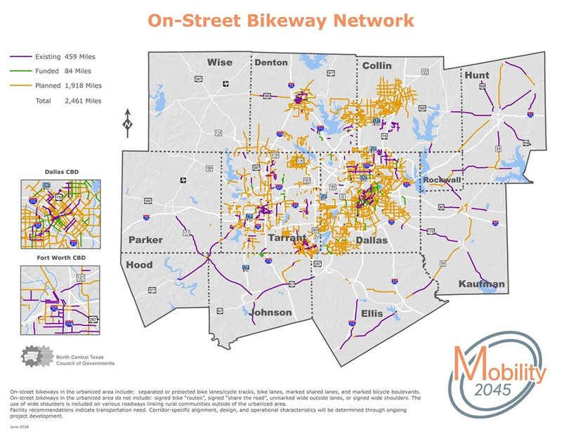 This map shows the On-Street Bikeway network of existing, funded and planned lanes for bicyclists