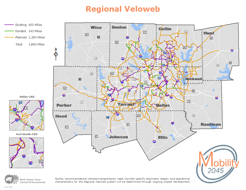 A map of the Regional Veloweb with existing, funded and planned miles for bicyclists, pedestrians, and other non-motorized forms of transportation.