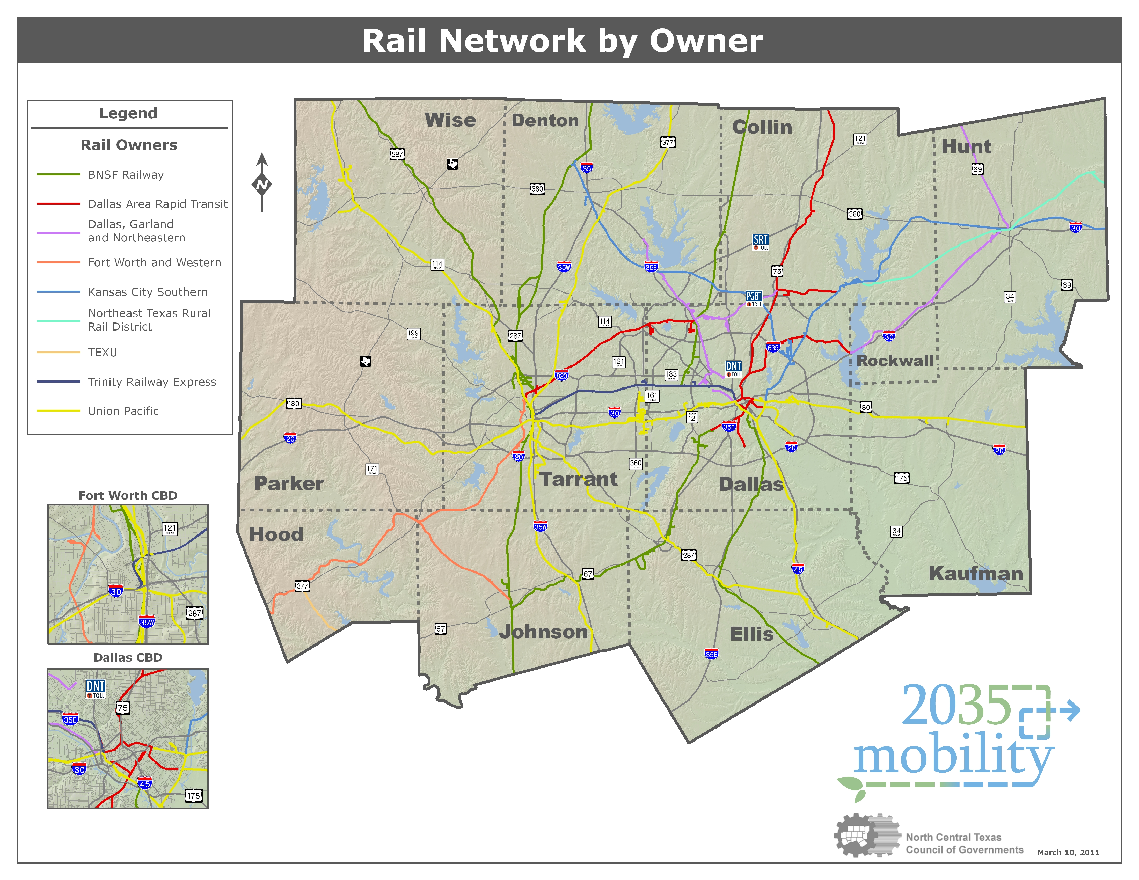 Map Of Texas Railroads.North Central Texas Council Of Governments Rail Planning