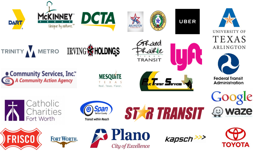 Logos of all of the North Central Texas Council of Governments guest speakers and partners