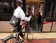 Bike rider on train